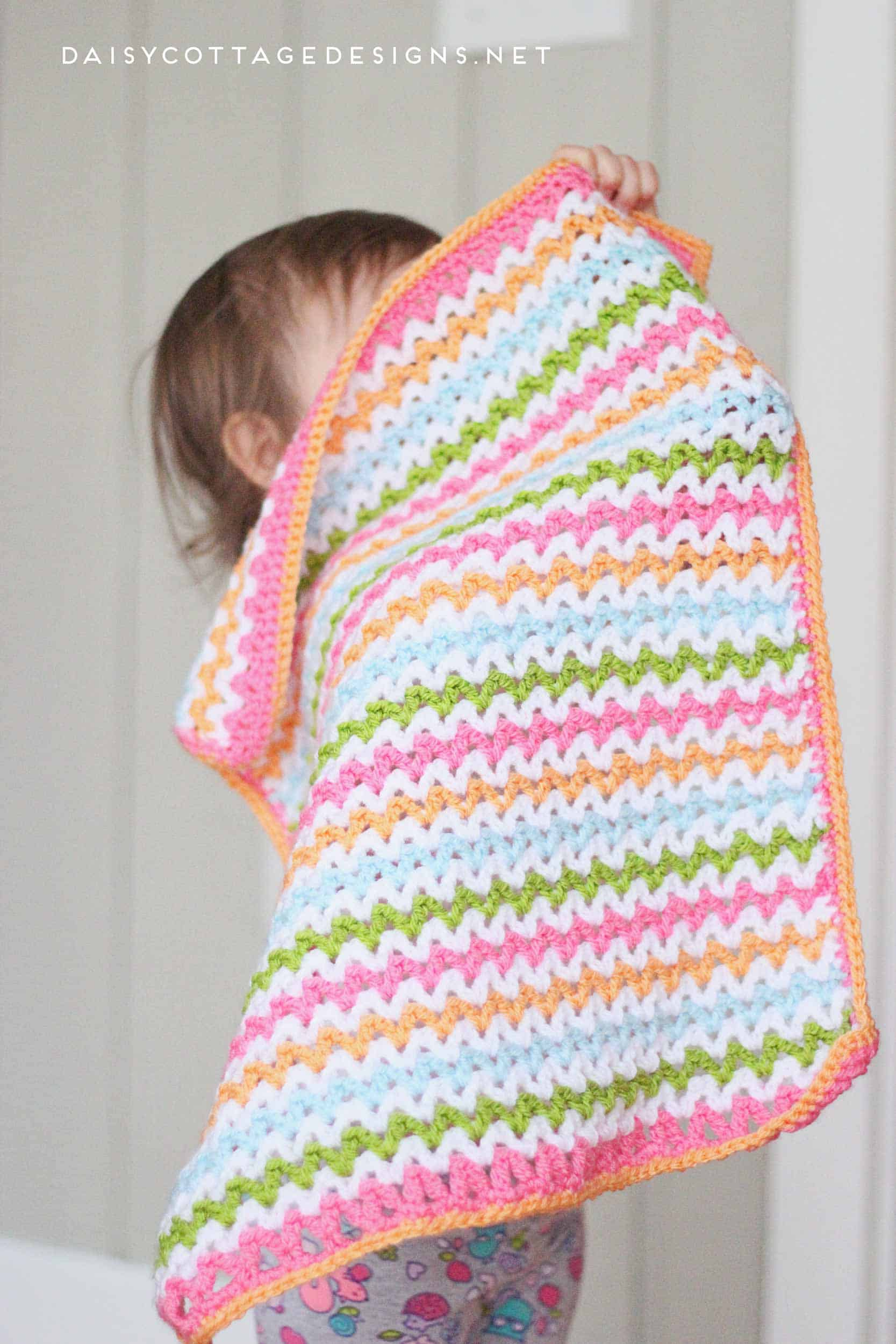 Pretty V Stitch Blanket Crochet Pattern Daisy Cottage Designs