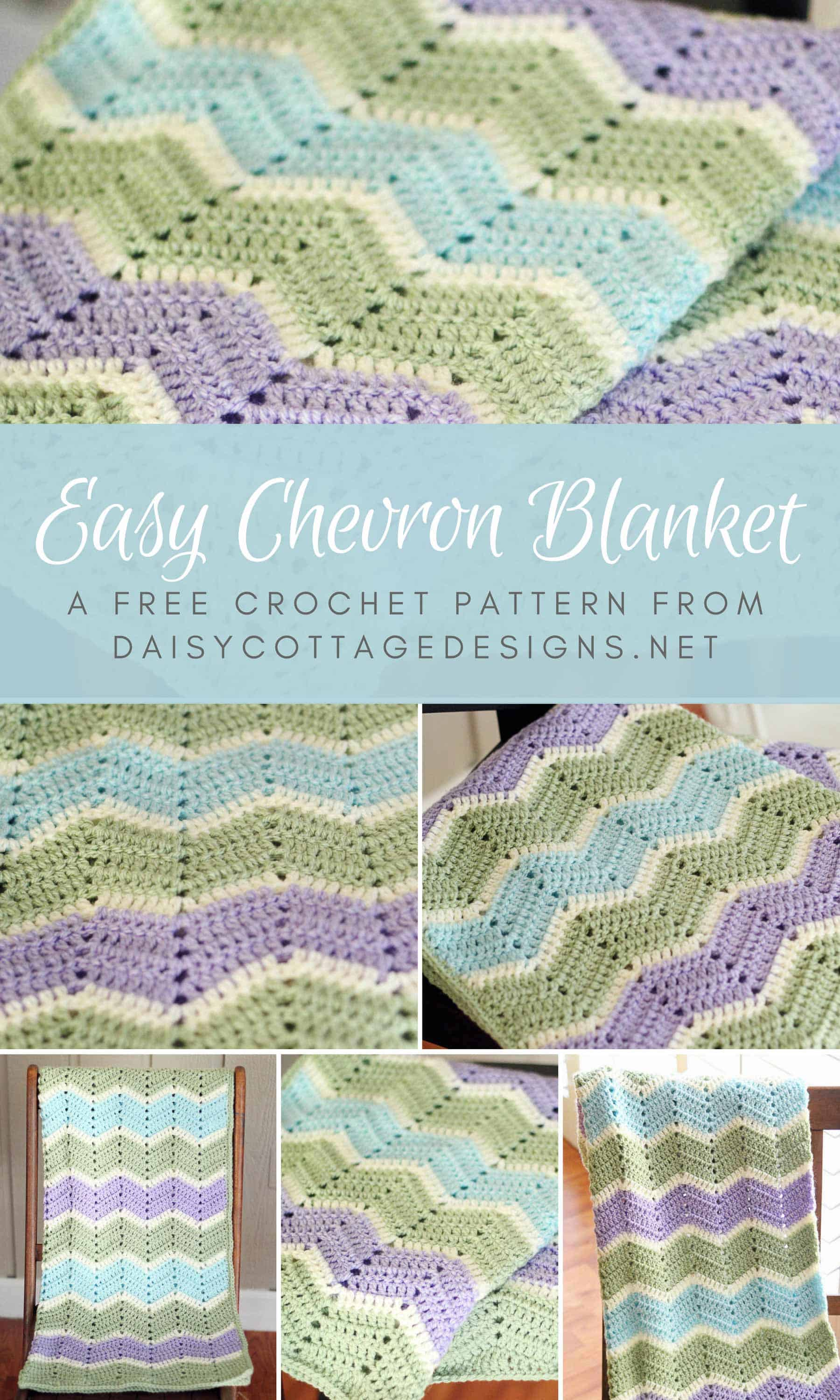 Easy Chevron Blanket Crochet Pattern Daisy Cottage Designs