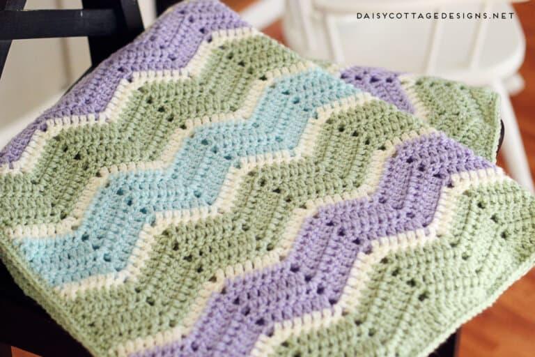 Easy Chevron Blanket Crochet Pattern Daisy Cottage Designs