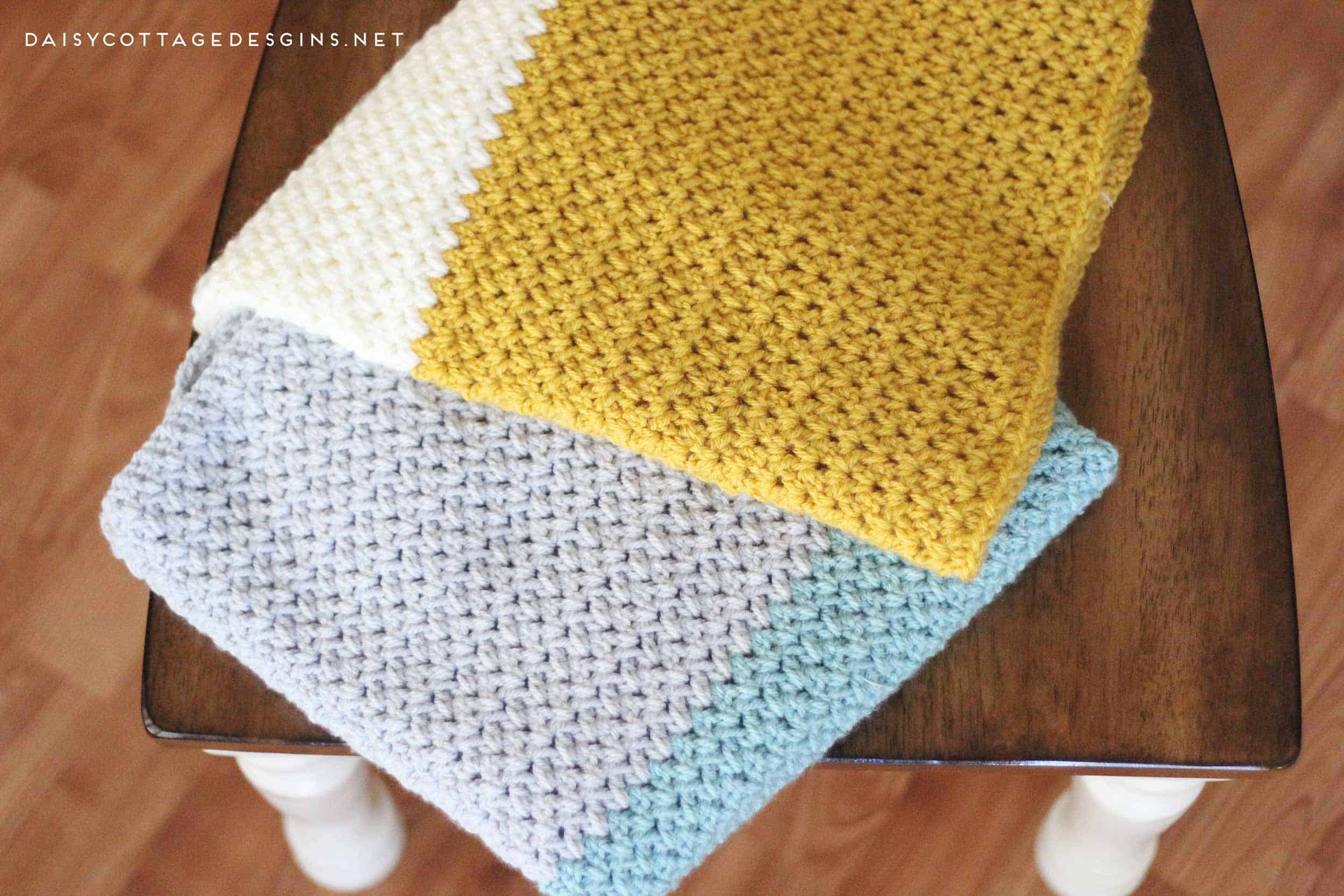 Color Block Blanket Crochet Pattern Daisy Cottage Designs