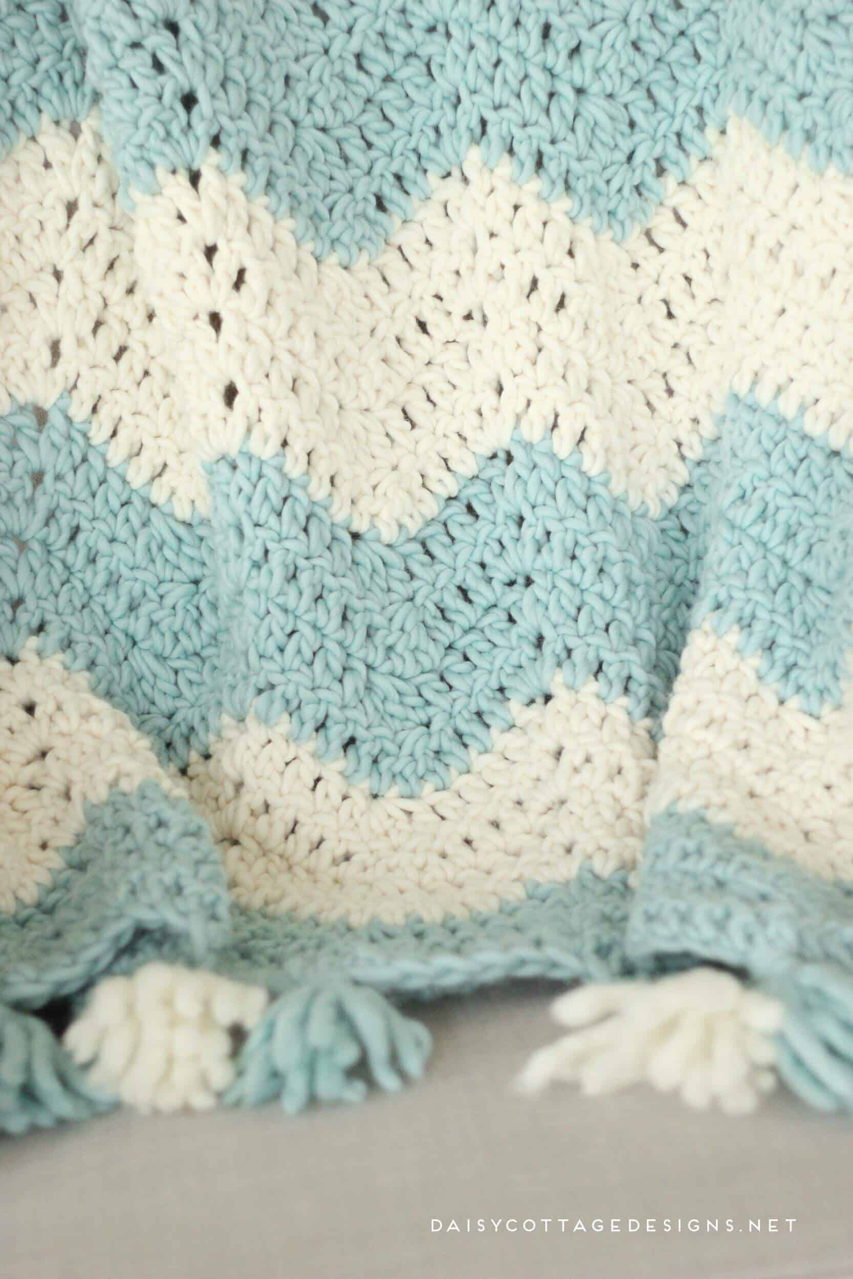 6c09d04e4922 Chunky Chevron Crochet Blanket with Tassels. Beautiful and easy to make.  Get a discount