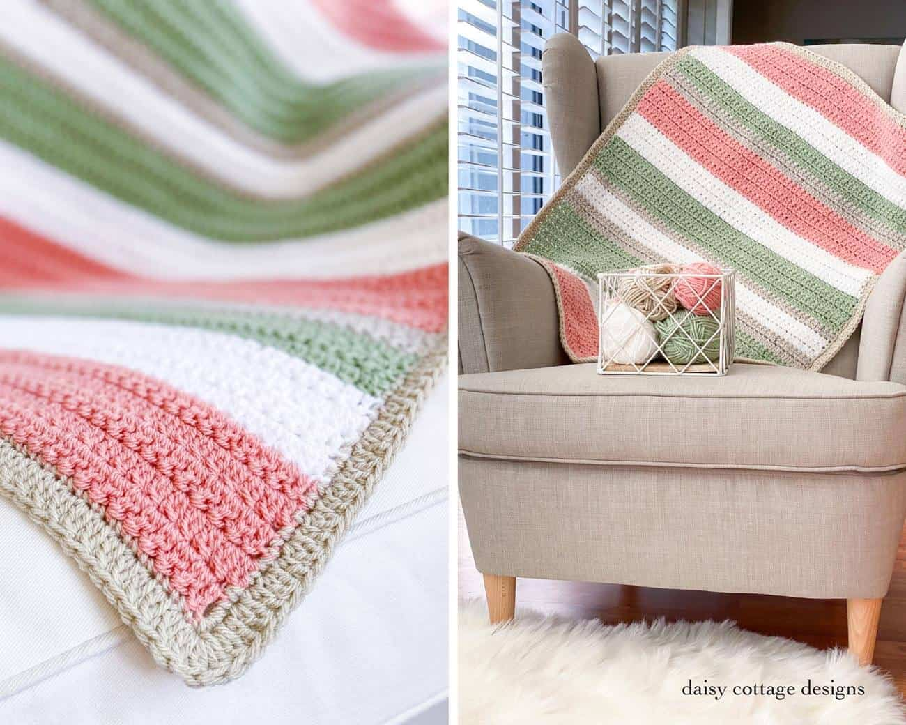 Use this quick and easy crochet pattern to create a beautiful stripe crochet blanket. Make it in any size and give it as a wonderful crochet gift. A great crochet blanket tutorial!