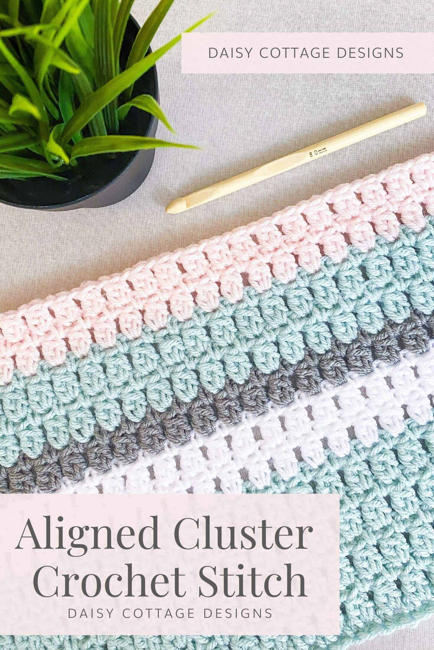 Learn how to make a double crochet cluster stitch using this crochet tutorial from Daisy Cottage Designs.