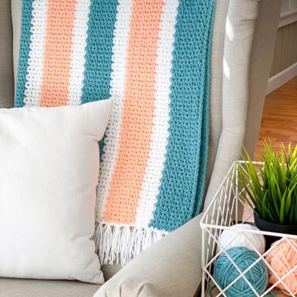 V Stitch Crochet Blanket with HDC