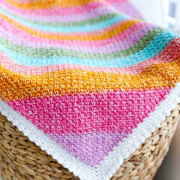 Rainbow Moss Stitch Crochet Blanket
