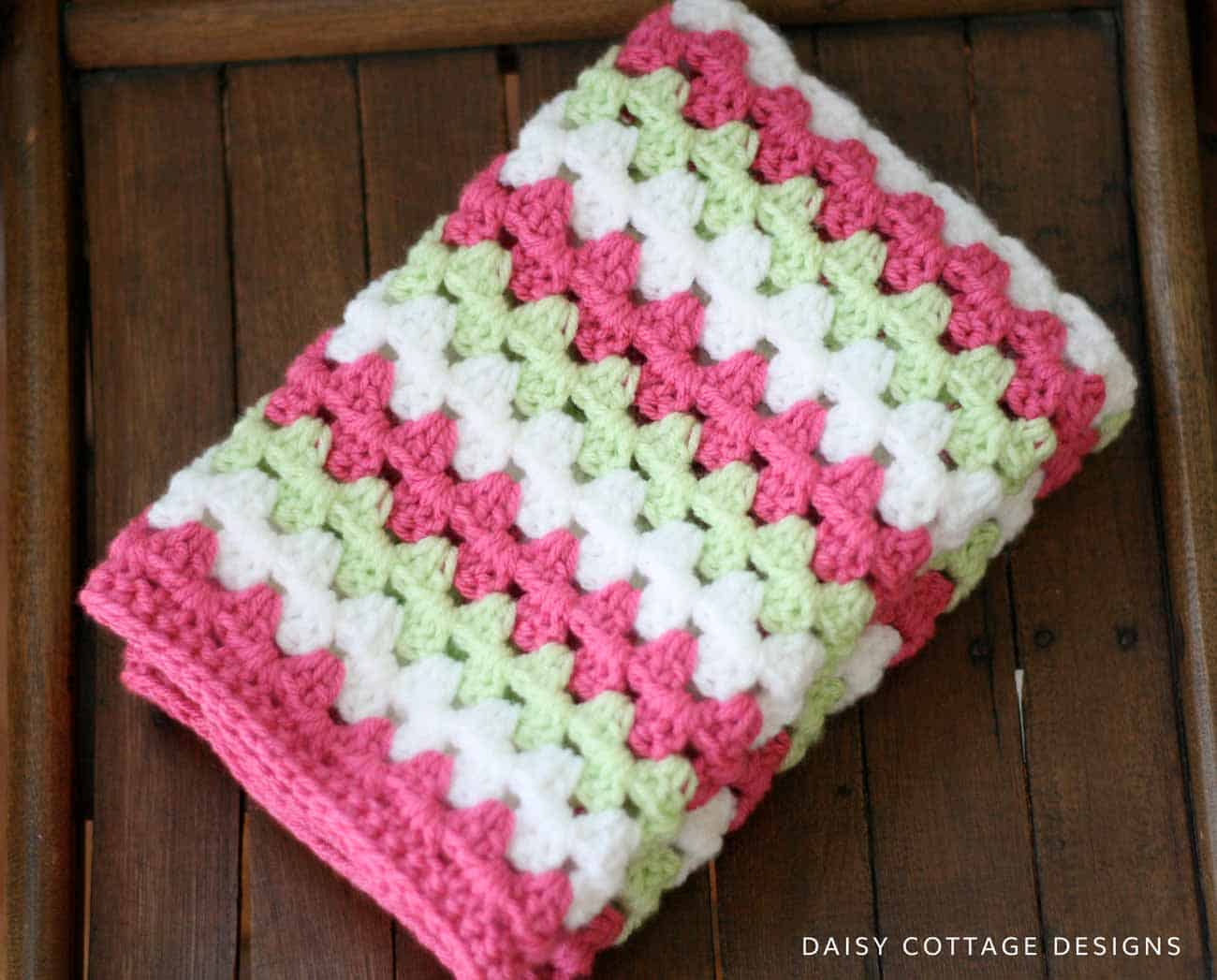 Granny Stripe Crochet Blanket in pink white and green
