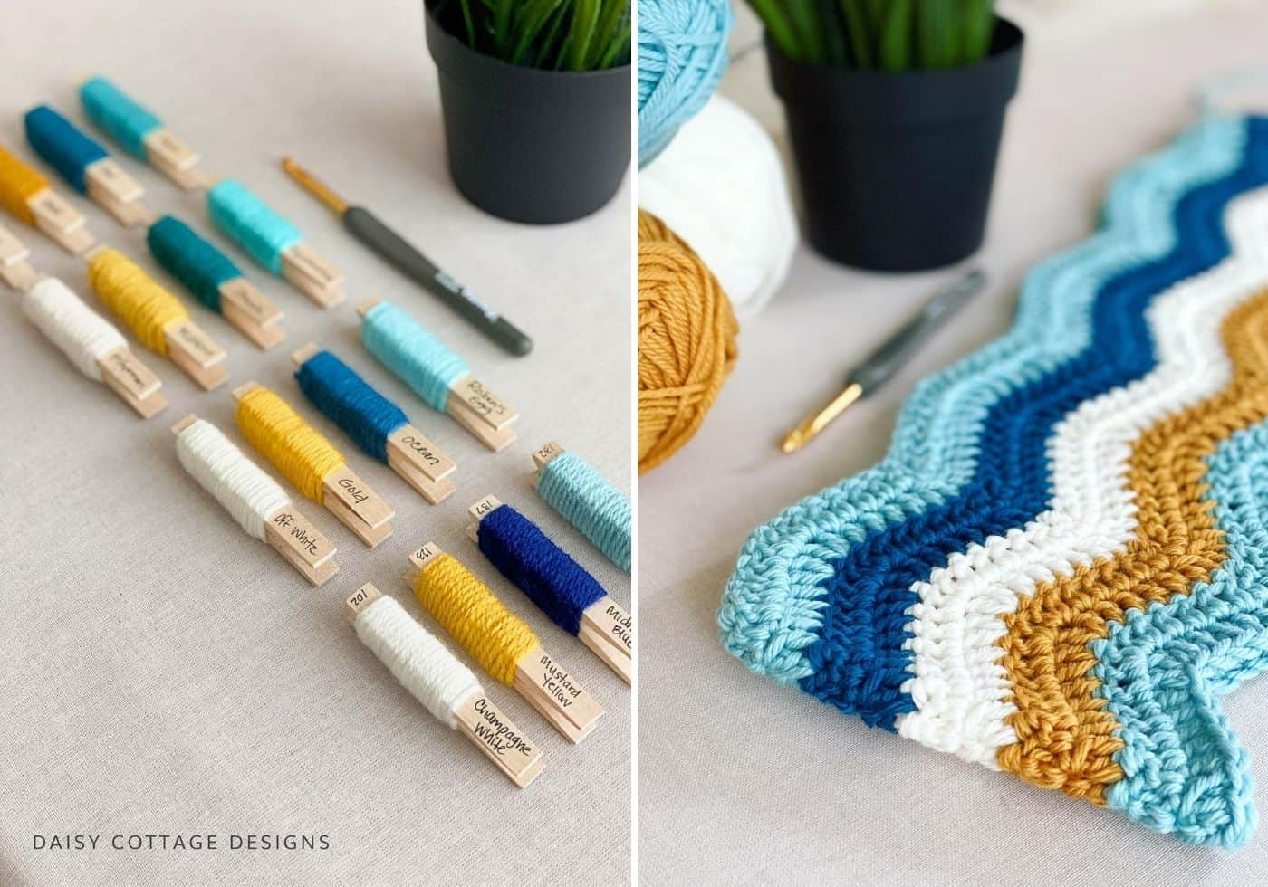 Crochet Colors Teal Turquoise Mustard Cream