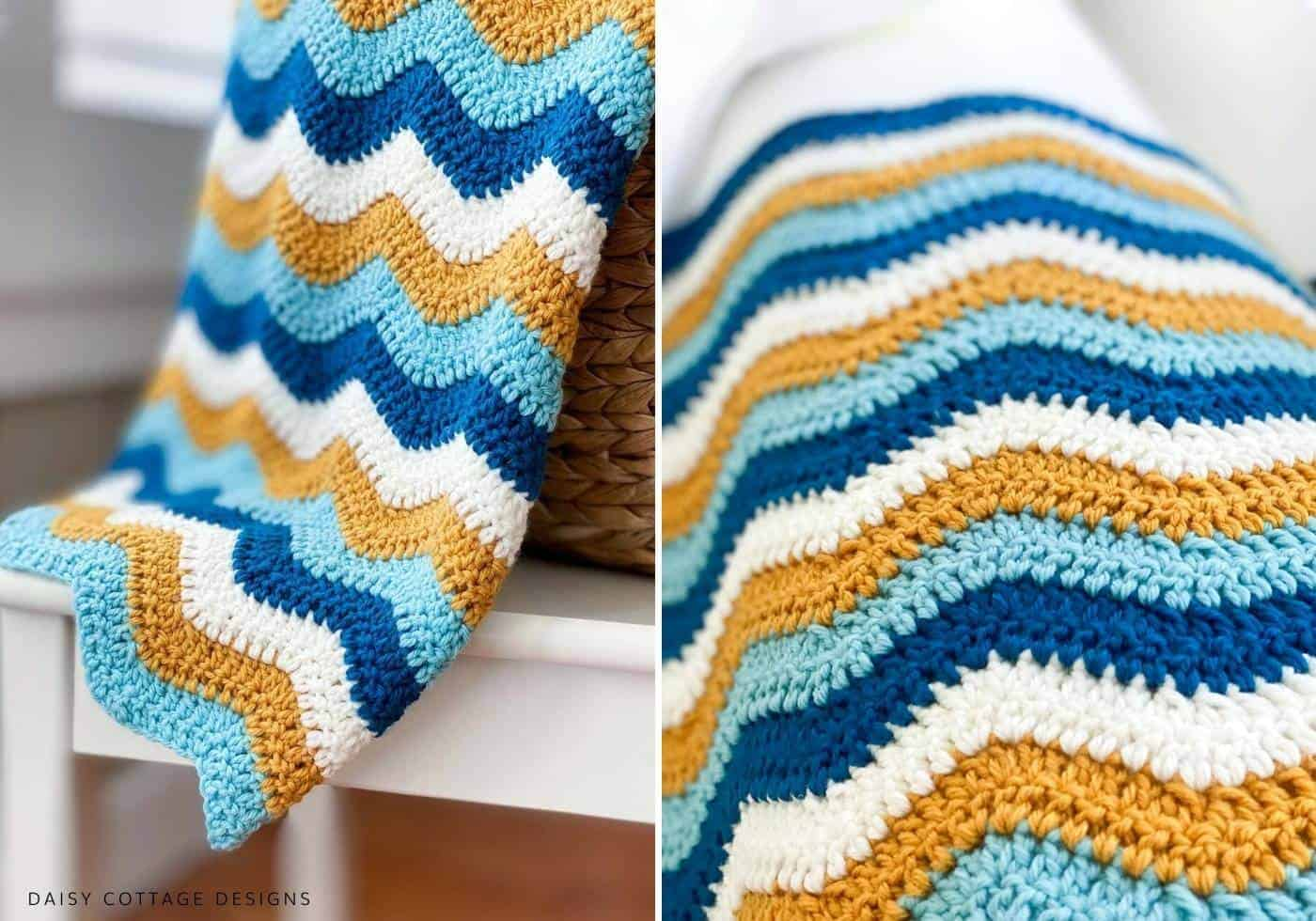 Mustard and Teal Crochet Ripple Blanket