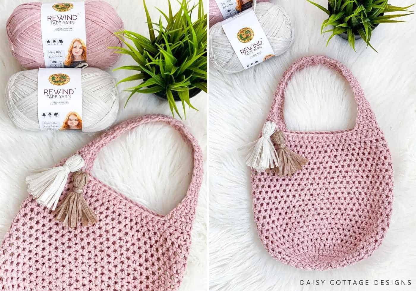Pink Crochet Market Tote Crochet Pattern